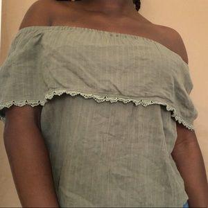 Billabong green off the shoulder top